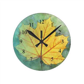 Sycamore Maple Autumn Leaf Round Clocks