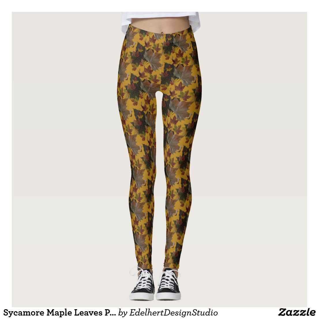 Sycamore Maple Leaves Pattern Legging