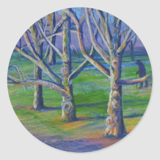 Sycamores at Central Park Classic Round Sticker