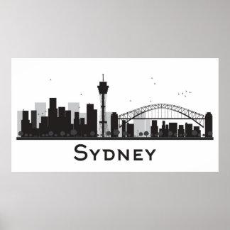 Sydney, Australia   Black & White City Skyline Poster