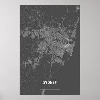 Sydney Australia blanca en negro Posters