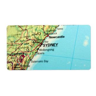 Sydney, Australia City Map Personalized Shipping Label
