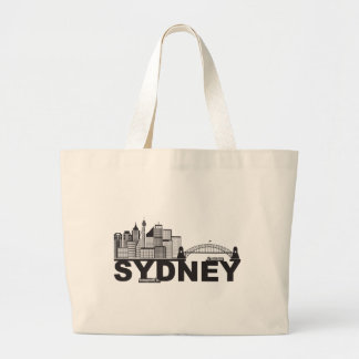 Sydney Australia Sklyine Text Outline Large Tote Bag