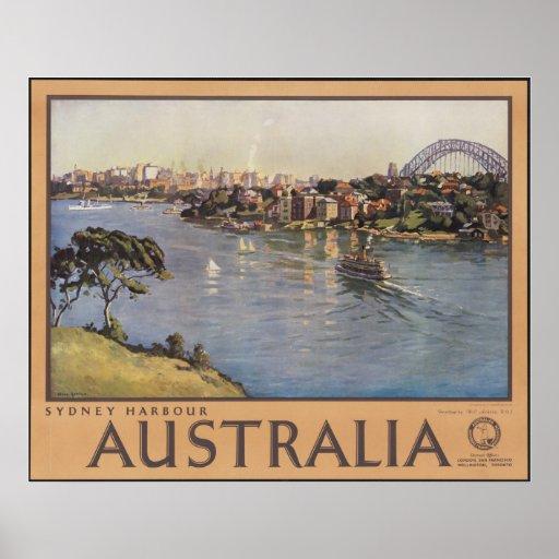 Sydney Australia Vintage Travel Poster Ad Retro