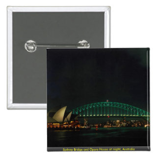 Sydney Bridge and Opera House at night Australia Button