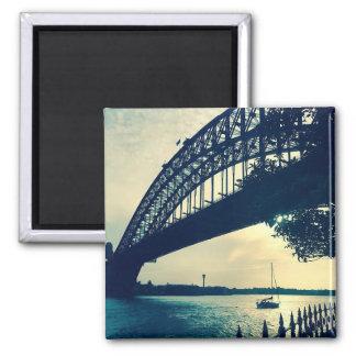 sydney bridge dusk 2 inch square magnet