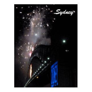 sydney bridge fireworks postcard