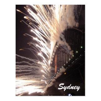 sydney bridge fireworks white postcard
