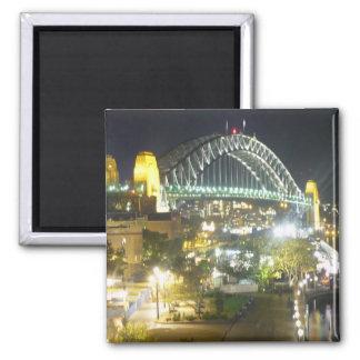 sydney bridge night 2 inch square magnet