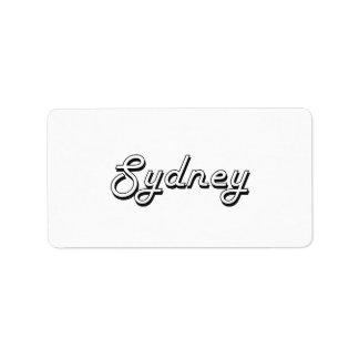 Sydney Classic Retro Name Design Address Label