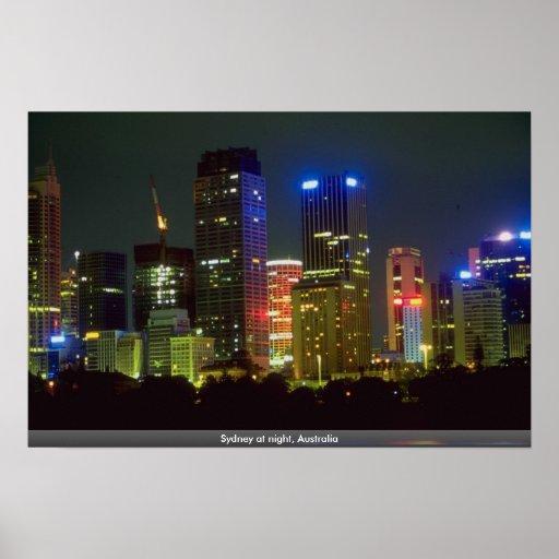 Sydney en la noche, Australia Posters