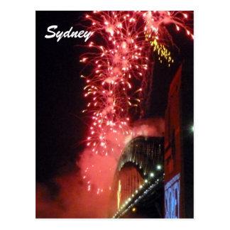 sydney fireworks red postcard