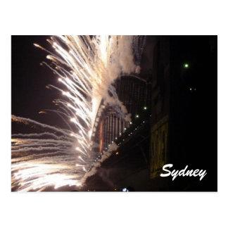 sydney fireworks white postcard