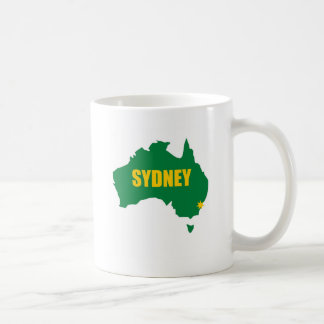 Sydney Green and Gold Map Mug
