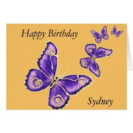 Sydney happy birthday purple butterfly card zazzle