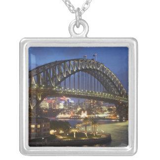 Sydney Harbor Bridge and Park Hyatt Sydney Hotel Square Pendant Necklace