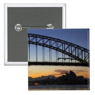Sydney Harbor Bridge and Sydney Opera House at 2 2 Inch Square Button