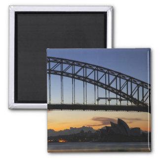 Sydney Harbor Bridge and Sydney Opera House at 2 2 Inch Square Magnet