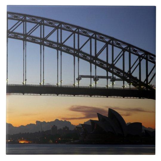Sydney Harbor Bridge and Sydney Opera House at 2 Ceramic Tile