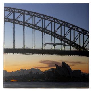 Sydney Harbor Bridge and Sydney Opera House at 2 Large Square Tile