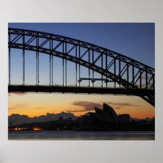 Sydney Harbor Bridge and Sydney Opera House at 2 Poster