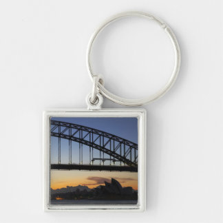 Sydney Harbor Bridge and Sydney Opera House at 2 Silver-Colored Square Keychain