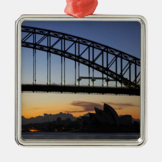 Sydney Harbor Bridge and Sydney Opera House at 2 Square Metal Christmas Ornament