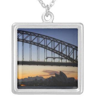 Sydney Harbor Bridge and Sydney Opera House at 2 Square Pendant Necklace