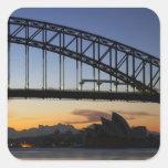 Sydney Harbor Bridge and Sydney Opera House at 2 Square Sticker