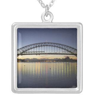Sydney Harbor Bridge and Sydney Opera House at Square Pendant Necklace