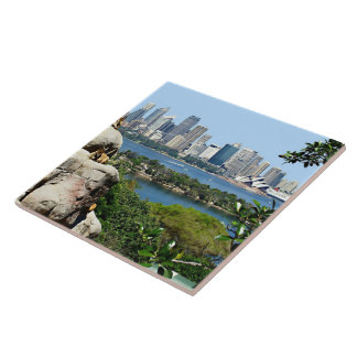 Sydney Harbor from the Zoo Ceramic Tile