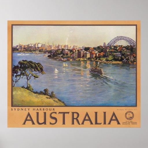 Sydney Harbour Australia Vintage Travel Poster