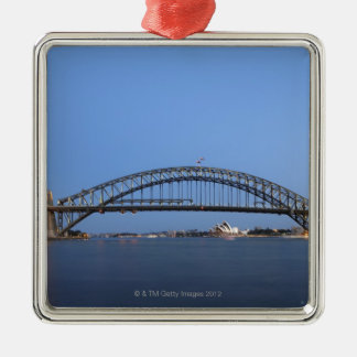 Sydney Harbour Bridge and Opera House at dusk Square Metal Christmas Ornament