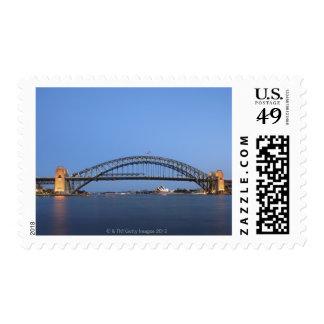 Sydney Harbour Bridge and Opera House at dusk Postage Stamp