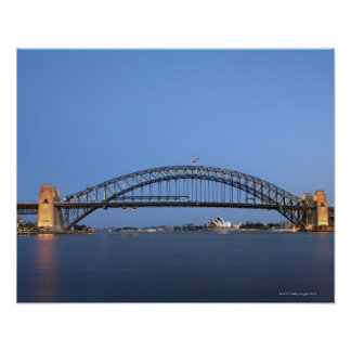 Sydney Harbour Bridge and Opera House at dusk Poster