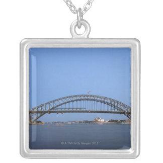 Sydney Harbour Bridge and Opera House at dusk Square Pendant Necklace