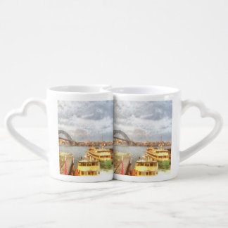 Sydney Harbour bridge and ships Couples' Coffee Mug Set