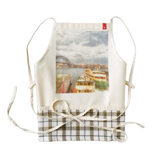 Sydney Harbour bridge and ships Zazzle HEART Apron
