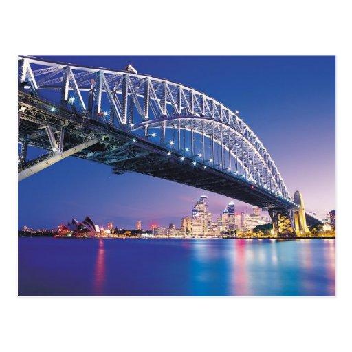 Sydney Harbour Bridge at Night Australia Postcard