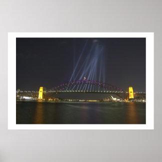 Sydney Harbour Bridge Light Show Print