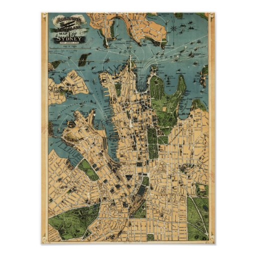 Sydney, mapa de AustraliaPanoramic Póster