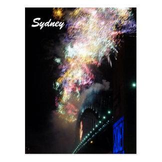 sydney new year fireworks postcard
