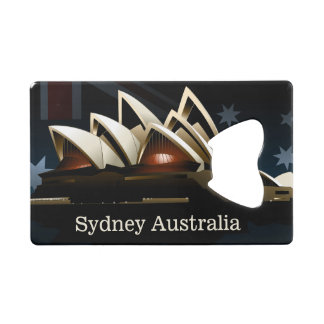 Sydney opera house at night credit card bottle opener