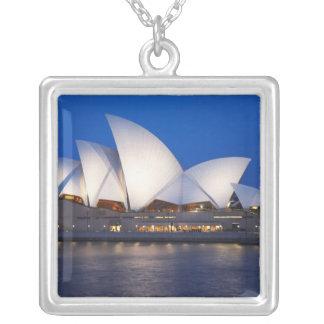 Sydney Opera House at Night, Sydney, New South Square Pendant Necklace