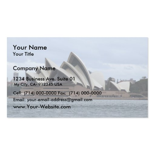 Sydney Opera House In Sunlight Backed By Cloud Double-Sided Standard Business Cards (Pack Of 100)