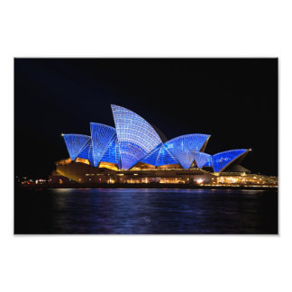 Sydney Opera House Lit Up in Blue at Night Photo Print