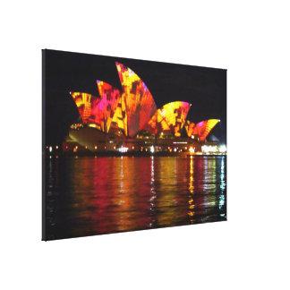 sydney opera house orange reflect canvas print