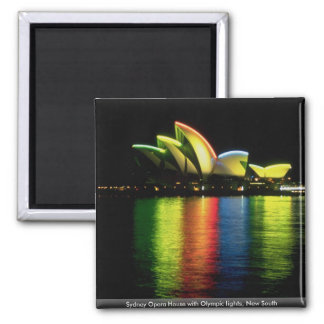 Sydney Opera House with Olympic lights, New South Refrigerator Magnets