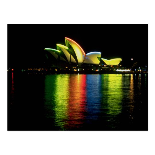 Sydney Opera House with Olympic lights, New South Postcard
