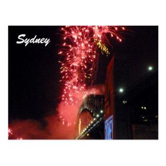 sydney red fireworks postcard